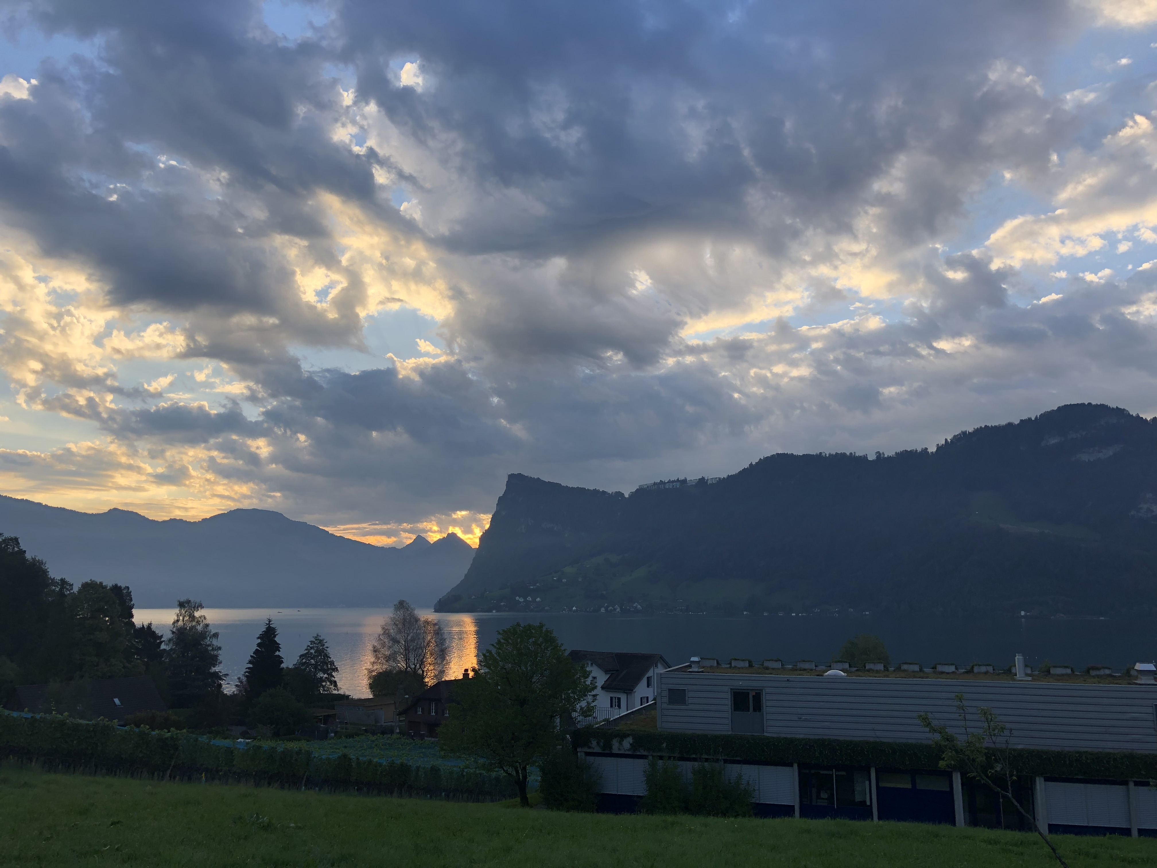 Morning view of Lake Lucerne with EAWAG in the foreground.