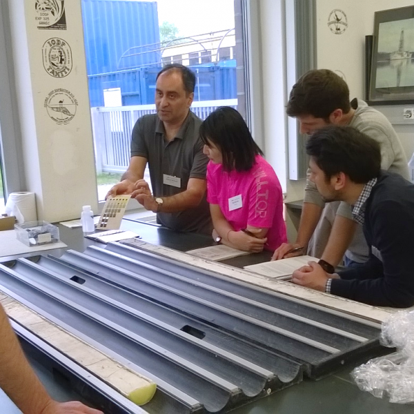 IODP lab turn: Mahyar Mohtadi explains how to describe sediment cores